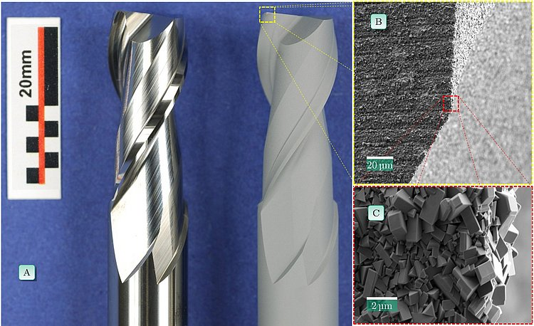 (A) Untreated milling cutter (left), treated milling cutter (right); (B/C) Enlarged sections of the tool surface after pre-treatment; © Foto: Fraunhofer IWM.